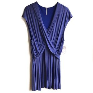 Free People Crisscross Cupro Cobalt Summer Dress L